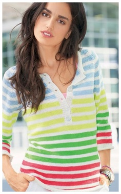 STRIPED PULLOVER WITH POLO CLASP  PERKY AND BRIGHT