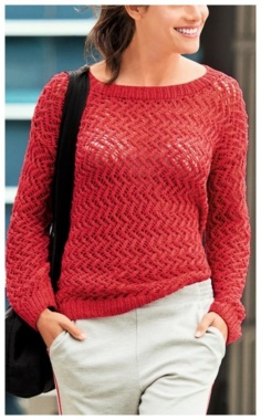 WOMAN RED LACE SWEATER