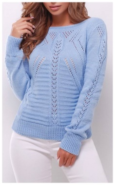BLUE STYLISH AND EASY KNITTED SWEATER