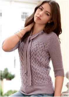 ROMANTIC PURPLE NECK DETAIL SWEATER