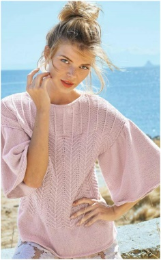 PINK WIDE ARM KNITTED SWEATER