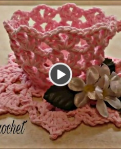 Knitting tea cup tutorial video