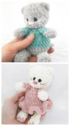 Cute amigurumi plush kitten