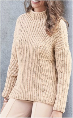 DIAGONAL SEMI PATENT PATTERN SWEATER