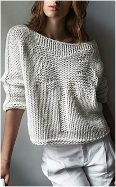 WHITE KNITTING SWEATER