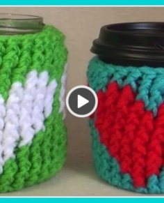 Crochet Heart Cup Cozy Tutorial