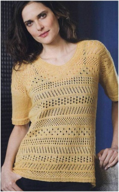 OPENWORK PULLOVER WITH A V NECK KNITTING NEEDLES
