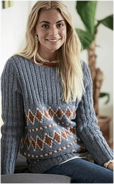 PATTERNED SWEATER WITH RUBBER KNITTING
