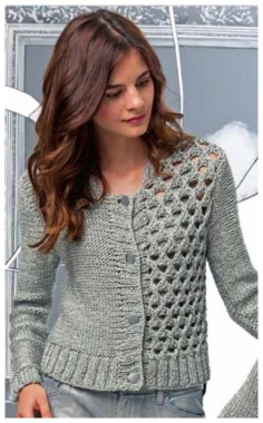 CROPPED SILVER GRAY KNITTED CARDIGAN WITH OPENWORK SHELF