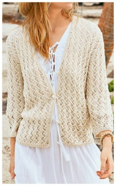 LIGHT JACKET WITH OPENWORK KNITTING PATTERN