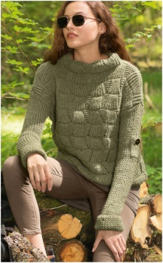KHAKI STAND COLLAR SWEATER