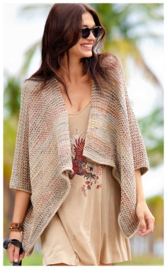 MULTI COLORED PONCHO JACKET IN A LOOSE STYLE