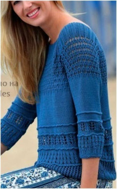 BLUE SWEATER SEVERAL PATTERNS
