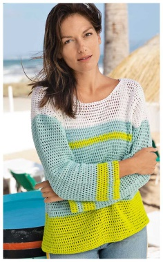 A LAID BACK, TRENDY THREE COLOR STRIPED SWEATER