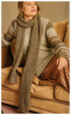 KNITTED PULLOVER AND SCARF