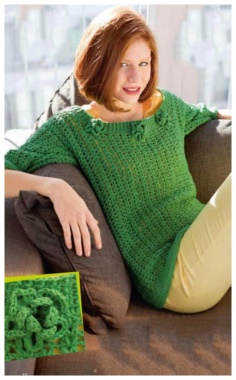 CROCHET GREEN PULLOVER WITH FLOWERS