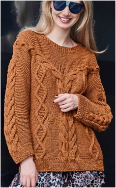 SWEATER WITH ELEGANT BRAID AND RHOMBUS DECOR