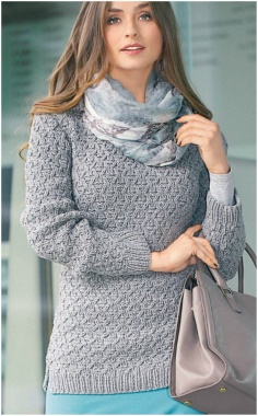 EMBOSSED PULLOVER KNITTING