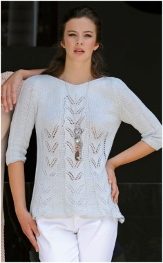PULLOVER WITH OPENWORK STRIPES PATTERN