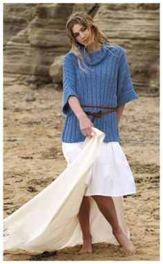 BLUE PULLOVER WITH KNITTING NEEDLES