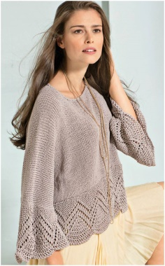 GRAY AND BEIGE OVERSIZED PULLOVER