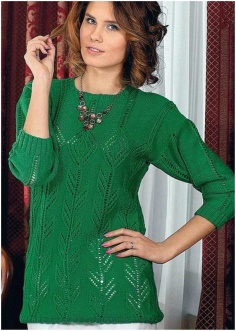 BRIGHT GREEN LEAF PATTERN SWEATER