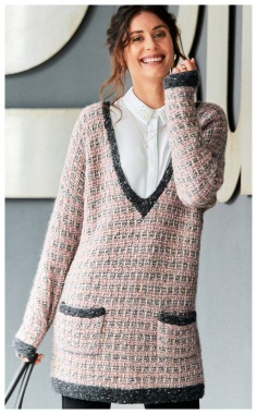 CHANEL STYLE PULLOVER WITH LOOP PATTERN  DISCREET