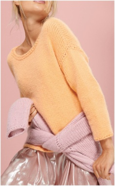TWO COLOR CASHMERE SWEATER