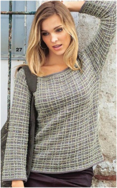 KNITTED CHECKERED PULLOVER PATTERN