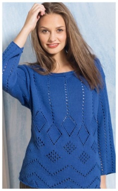 BLUE OPENWORK SWEATER