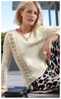 ELEGANT SWEATER WITH STRIPES OF LACE PATTERN