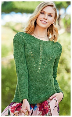 GREEN SWEATER WITH A LACE PATTERN