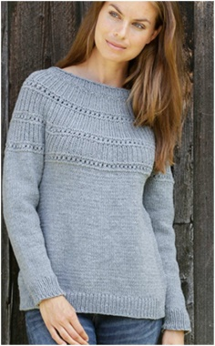 PULLOVER WITH A ROUND YOKE SWEATER