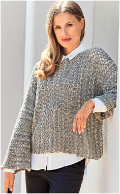 KNITTED CROSS KNIT SWEATER