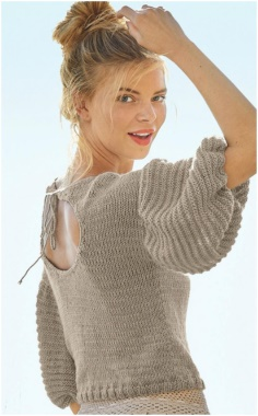 SWEATER WITH LANTERN SLEEVES AND A NECKLINE ON THE BACK   ALLURING