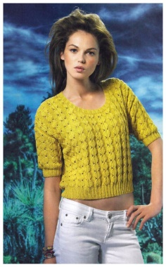 SHORT PULLOVER WITH A FANCY PATTERN