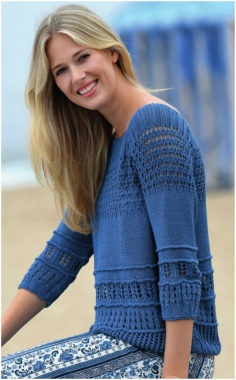 SUMMER SPORT KNITTED SWEATER WITH BLUE HOLES
