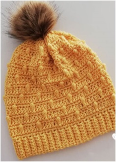 Crochet Bobble Drops Pompom Hat Pattern