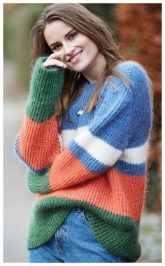BRIGHT JUMPER WITH A SEMI PATENT PATTERN