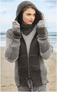 SWEATSHIRT WITH A HOOD AND A PULLOVER IN GRAY TONES