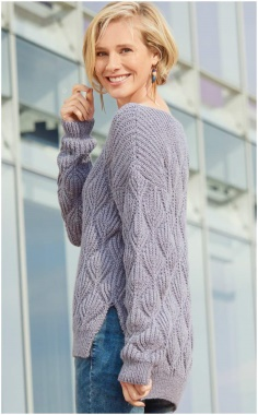 REAR LONG PATTERNED KNITTED SWEATER