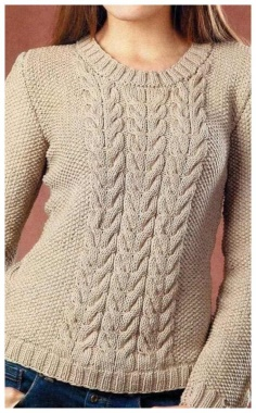 BEIGE PULLOVER WITH BRAIDS