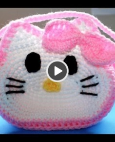 Crochet Hello Kitty little girls purse
