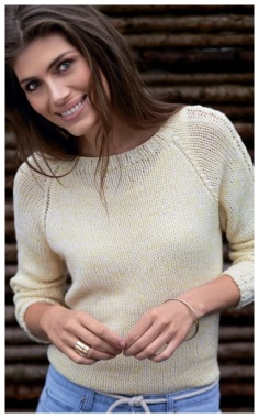 SLEEVE SWEATER WITH EMBOSSED PATTERN