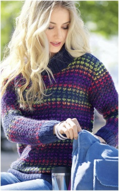 SWEATER WITH A MULTI COLORED PATTERN