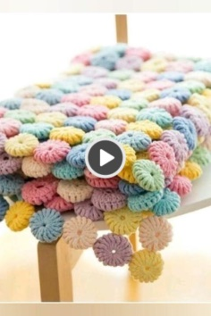 Colorful Flower Knitted Blanket