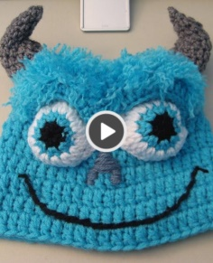 Crochet Blue Monster Beanie