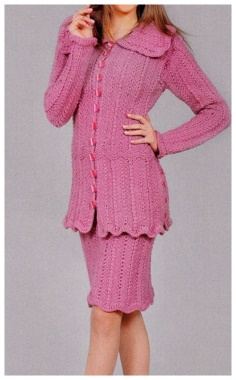 A PINK SUIT WITH KNITTING NEEDLES