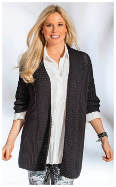 SEMI PATENT BLACK CARDIGAN FOR WOMEN WITH SHAPES