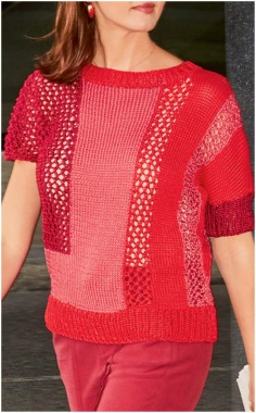 RED SHORT PATTERN SWEATER